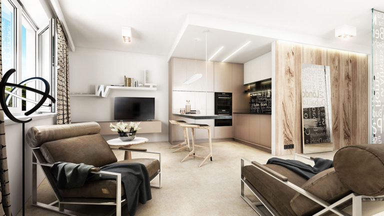3D Vizualizace obývacího pokoje s kuchyňským koutem