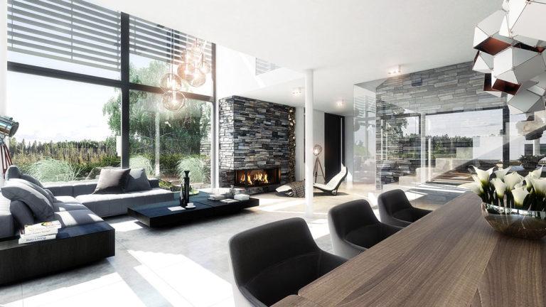 Fotorealistická vizualizace obývacího pokoje