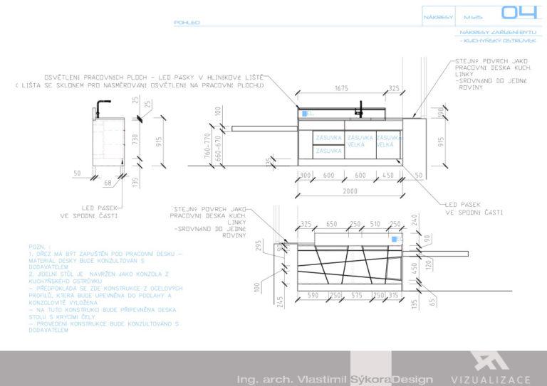 Nákres zařízení bytu - kuchyň