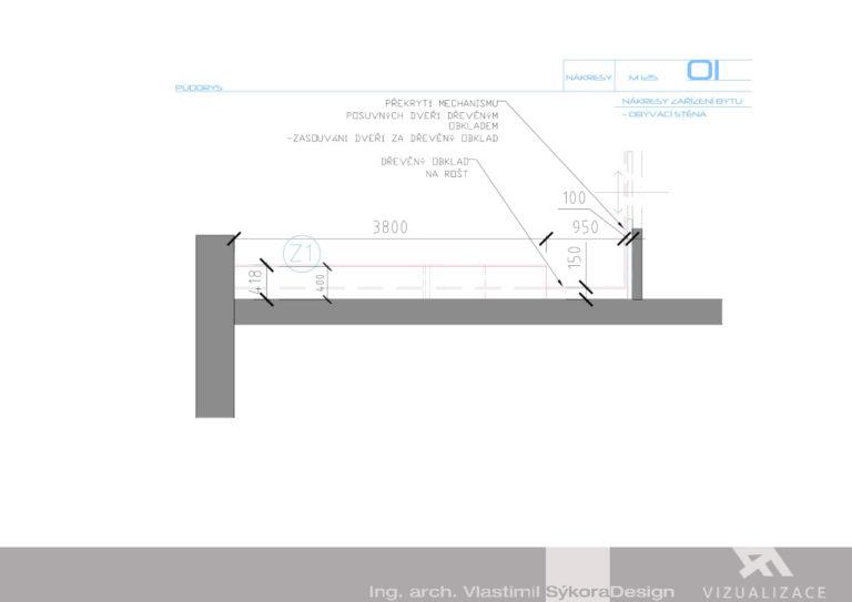Nákres zařízení bytu - obývací stěna
