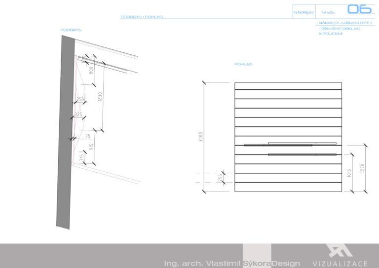 Nákresy zařízení bytu - dřevěný obklad s policemi