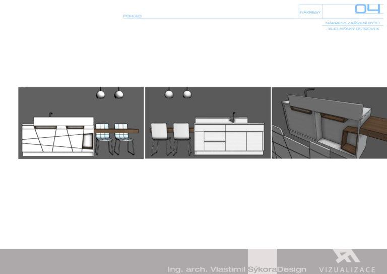 Nákresy zařízení bytu - kuchyňský ostrůvek