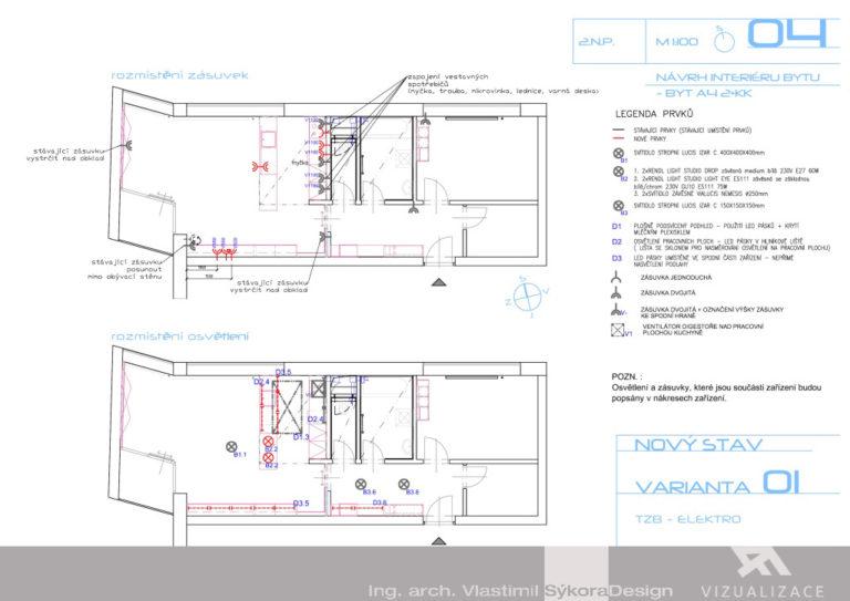 Návrh interiéru bytu - elektro