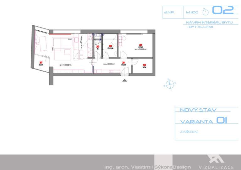 Návrh interiéru bytu - nový stav