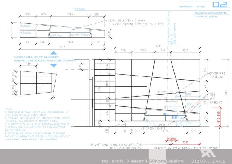 Návrh interiéru - obývací stěna