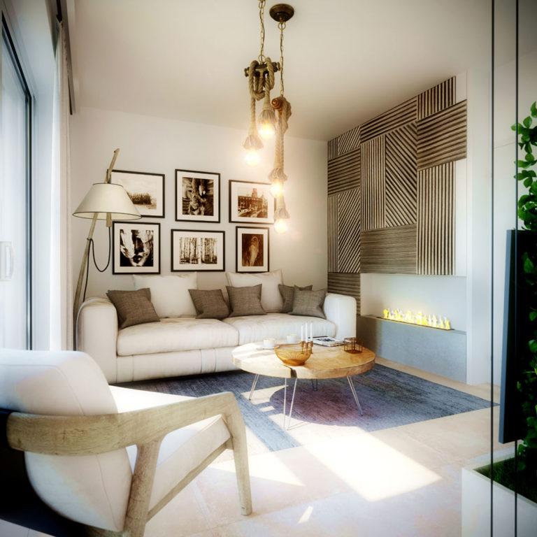 Vizualizace menšího obývacího pokoje