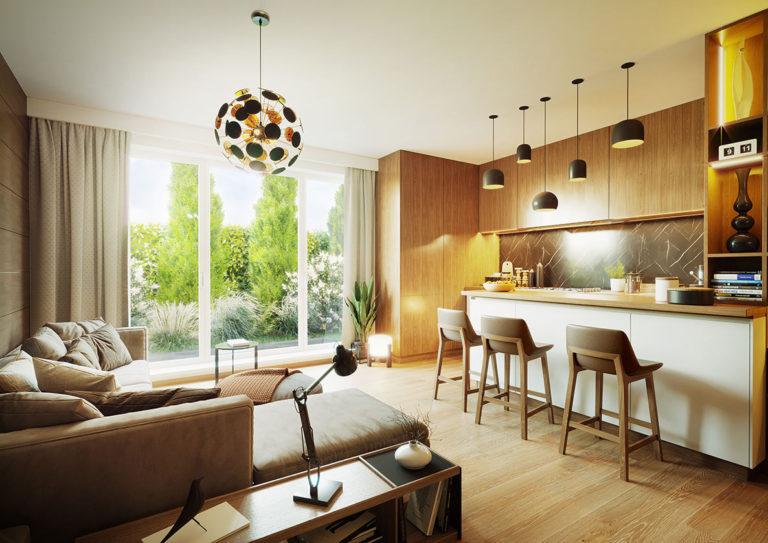 Vizualizace obývacího pokoje s kuchyňským koutem
