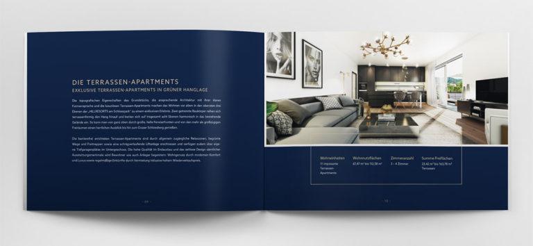 ukázka dvoustrany katalogu a povídání o interiérech projektu