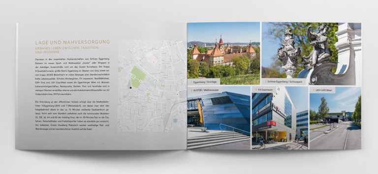 ukázka dvoustrany katalogu o developerském projektu