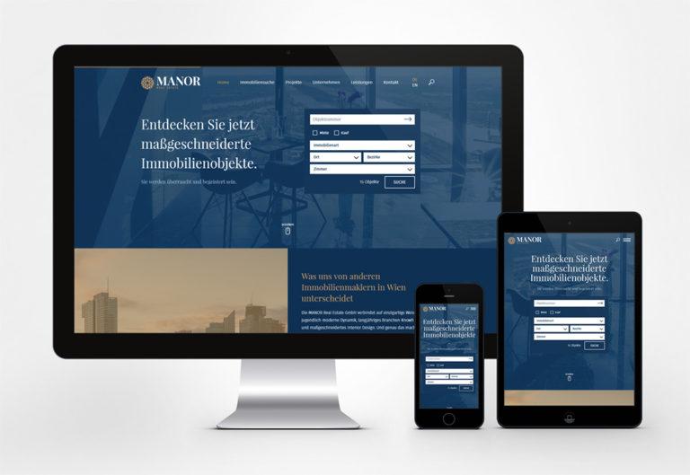 ukázka firemního webu na tabletu a mobilu
